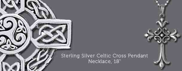 Sterling Silver Celtic Cross Pendant Necklace, 18""
