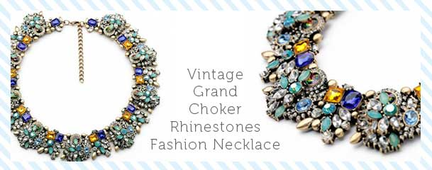 Fun Daisy Jewelry Rhinestones Choker Necklace