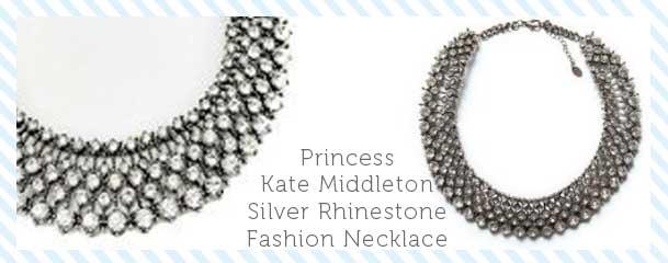 Princess Kate Middleton Silver Rhinestone Fashion Necklace