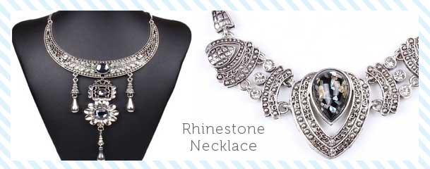 Qiyun Silver Statement Rhinestone Necklace