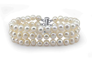 3-Row White A Grade 6.5-7mm Freshwater Cultured Pearl Bracelet