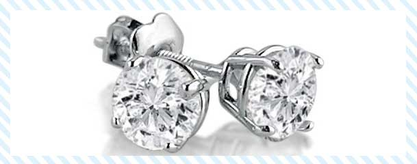 Amanda Rose Collection White Gold Round Diamond Stud Earrings