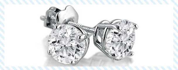Amanda Rose Collection White Gold Round Diamond Stud Earrings