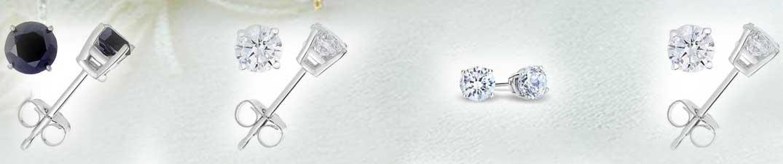 Black and White Diamond Stud Earrings