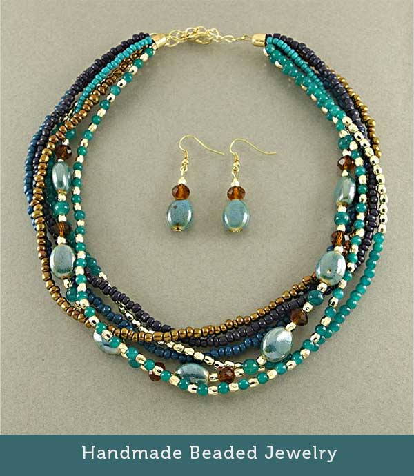 Glass Necklace Set - Handmade Beaded Jewelry