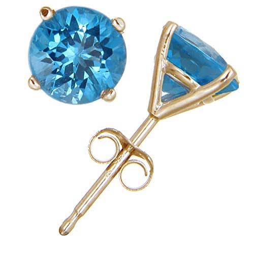 Gold Blue Topaz Stud Earrings (1.80 CT ; 6 MM Round Cut)