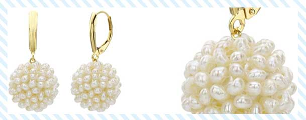 14K Yellow Gold Snowball Design Pearl Earrings