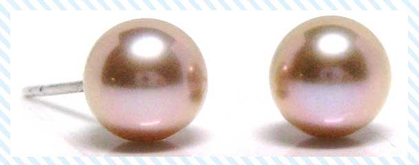 HinsonGayle Fine Pearl Jewelry Pink Pearl Stud Earrings