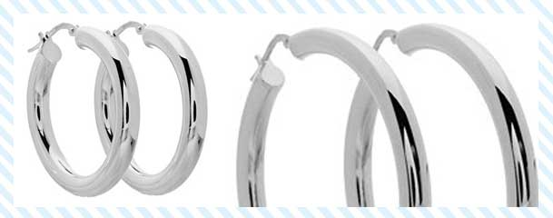 Italian Sterling Silver Large Hoop Earrings