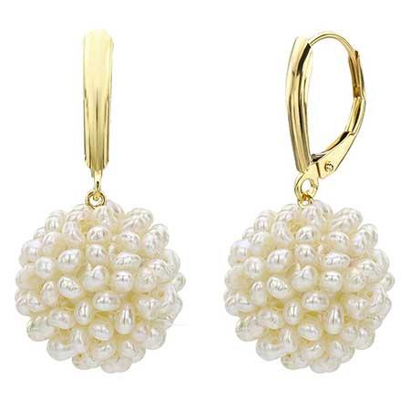 La Regis Jewelry Snowball Design Pearl Earrings
