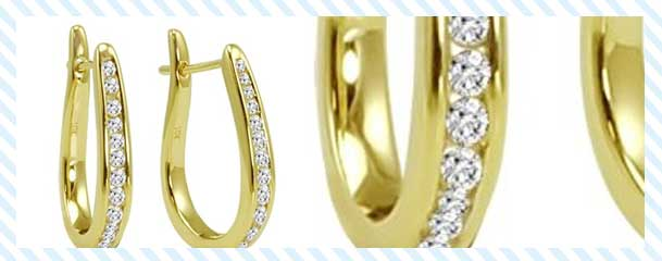 Amanda Rose Collection Diamond Hoop Earrings Yellow Gold