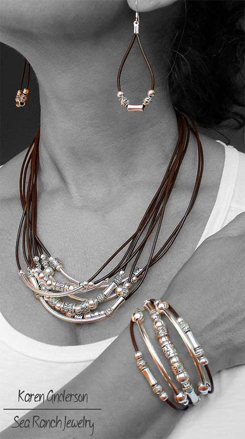 leather & silver jewelry set