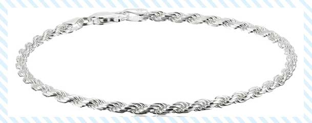sterling silver diamond cut rope chain link bracelet