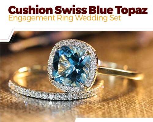 Swiss Blue Topaz Engagement Ring