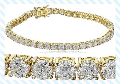Gold Cubic Zirconia Tennis Bracelet