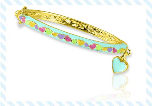 Enamel Bangle Heart Bracelet