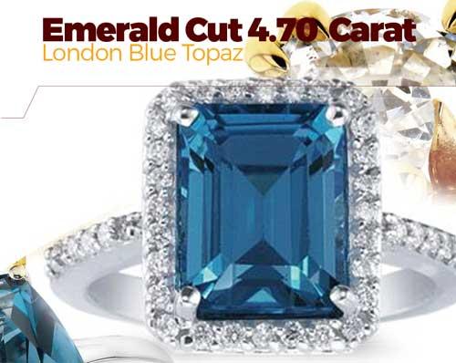 Emerald cut 4.70 Carat London Blue Topaz