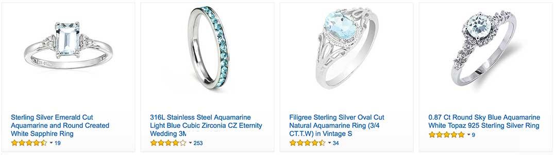 Aquamarine Diamond Rings