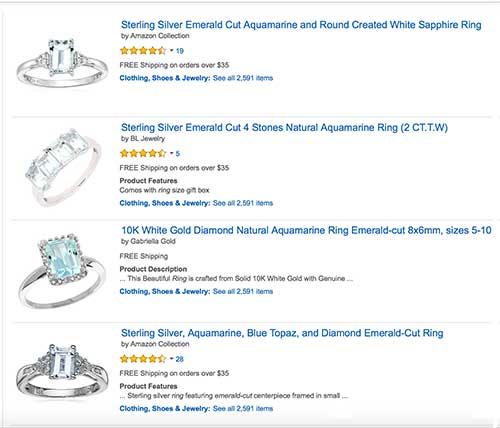 Aquamarine Emerald Cut Rings