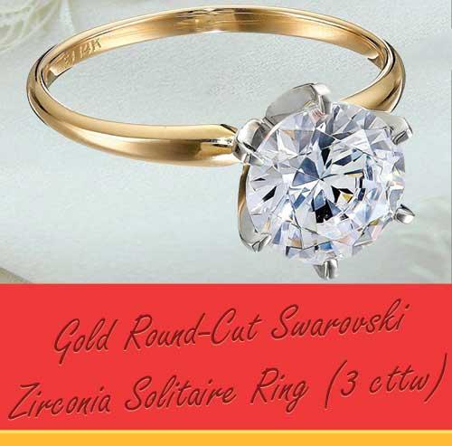 14k Gold Round Cut Swarovski Zirconia Solitaire Ring