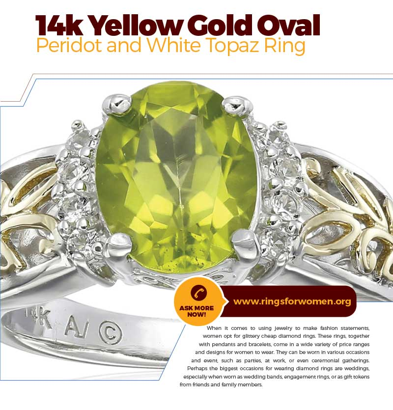 Gold Oval Peridot And White Topaz Ring