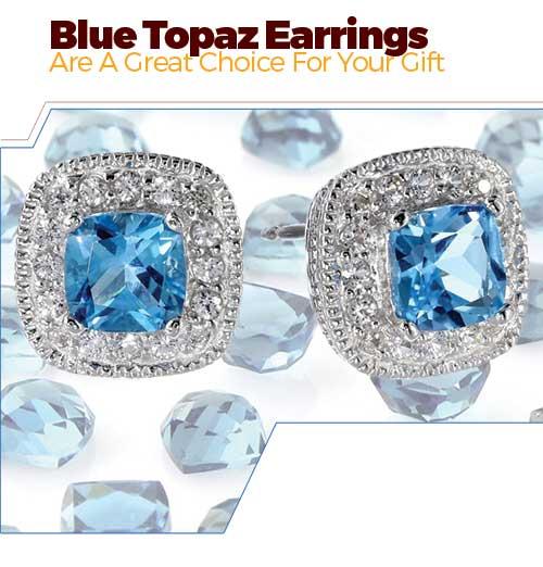 Sterling Silver, White Sapphire topaz Earrings