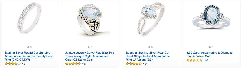 White Gold Aquamarine Rings