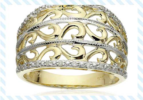 10K Yellow Gold Filigree Diamond Ring