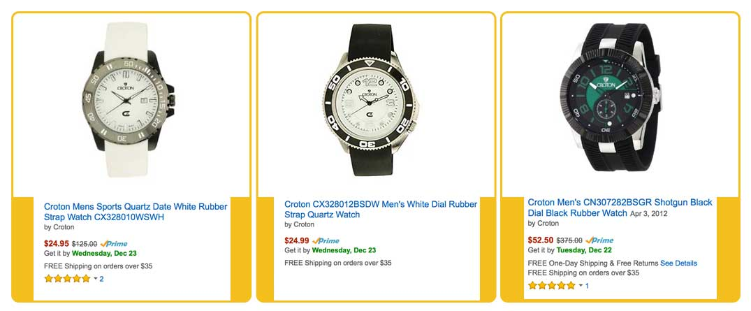Croton watches prices