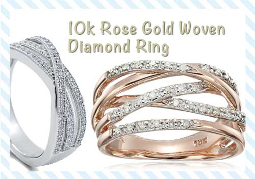 10k Rose Gold Woven Diamond Ring