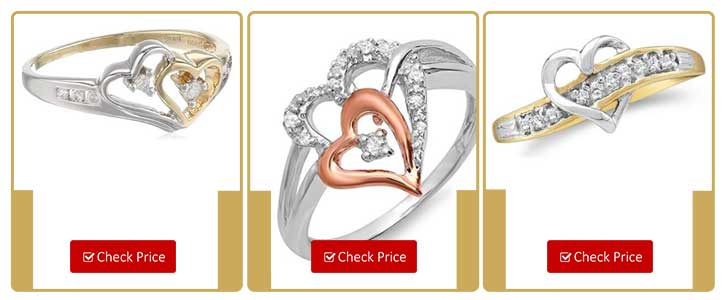 14k Two-Tone Diamond Heart Ring