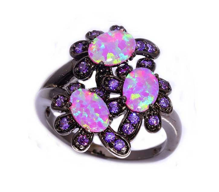 Amethyst Black Gold Ring