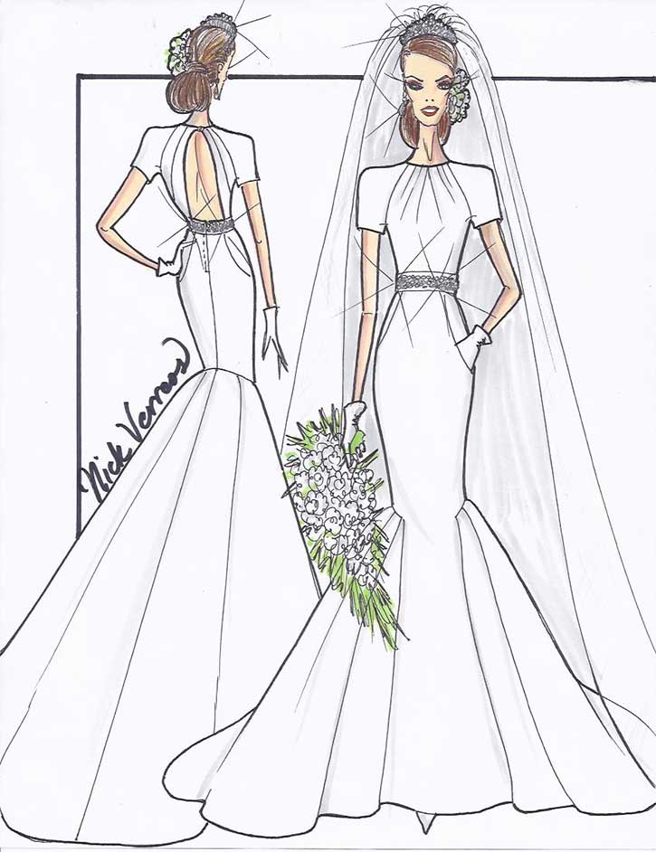 Sketch Kate Middleton Wedding Dress