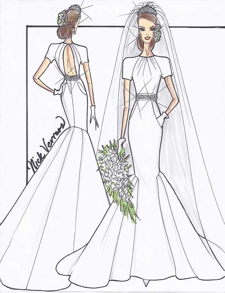 Sketch Kate Middleton Wedding Dress