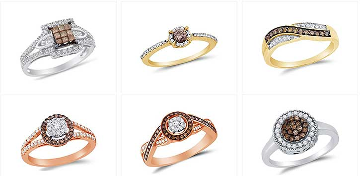 wedding model rings round luxury chocolate diamond gold settings