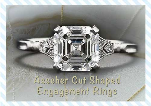 Asscher Cut Shaped Rings