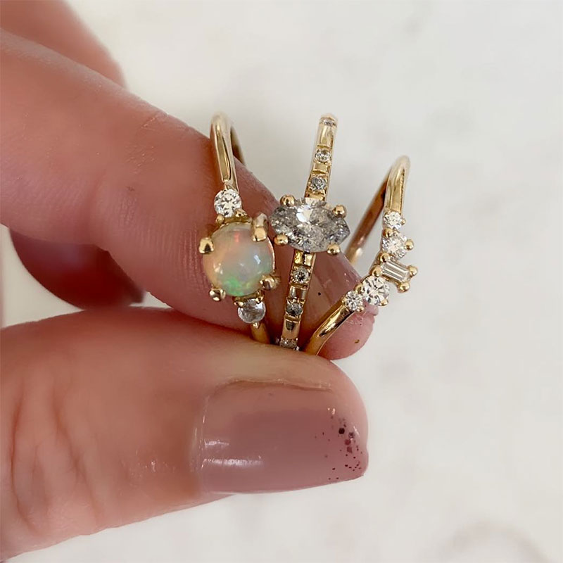 Precious opal rings