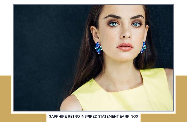 Sapphire Retro Inspired Statement Earrings