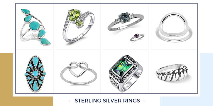 Sterling silver rings amazon