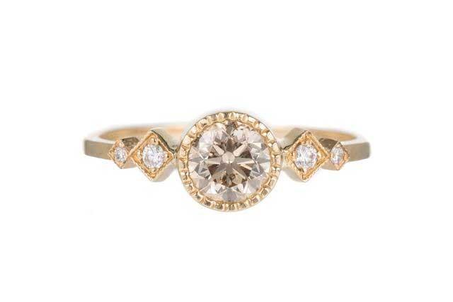 Champagne Diamond Solitaire Echo Ring