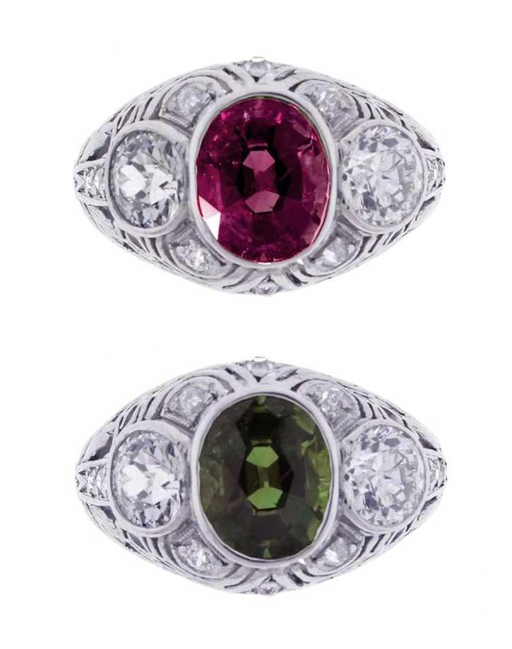 Platinum Antique Art Deco Alexandrite Ring