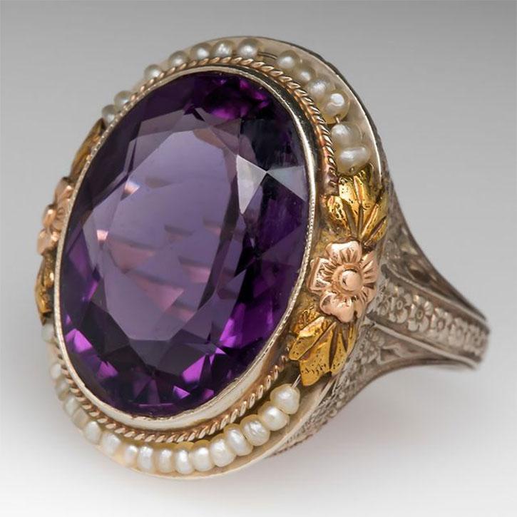 Antique Art Deco Amethyst Ring