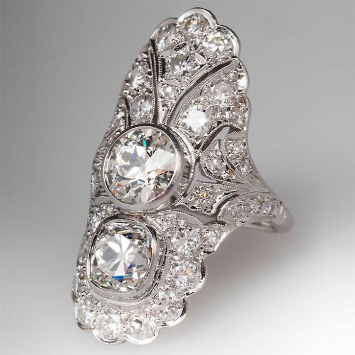 Antique Art Deco Diamond Dinner Ring