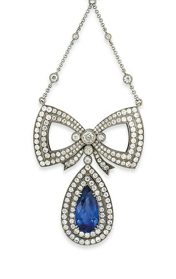 Antique Edwardian Sapphire and Diamond Pendant