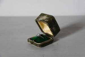 Antique Ring Box Leather Engagement Wedding Ring Box