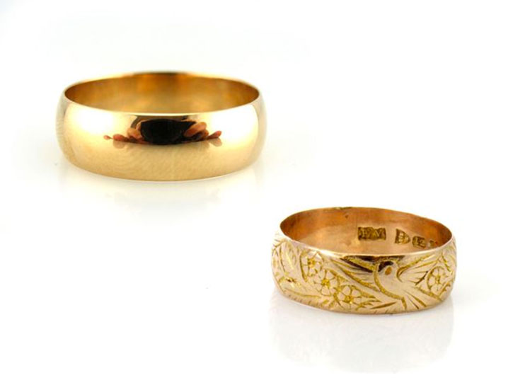 Antique Rose Gold Victorian Wedding Bands