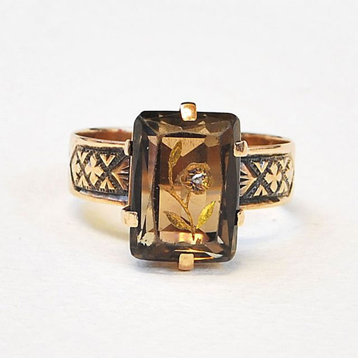 Antique Victorian Topaz Floral Ring