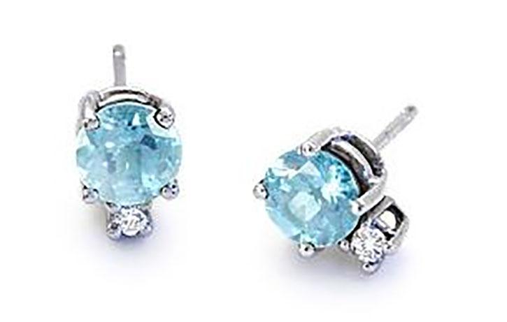 Aquamarine Diamond Stud Earrings