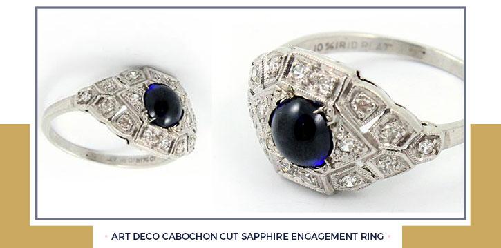 Art Deco Cabochon Cut Sapphire Engagement Ring