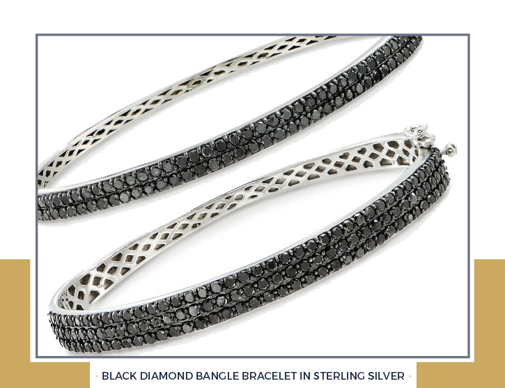 Black Diamond Bangle Bracelet